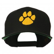 Image of a Paw Embroidered Flat Bill Cap - Black