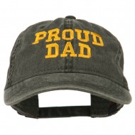 Proud Dad Letters Embroidered Washed Cotton Cap - Black