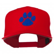 Image of a Paw Embroidered Flat Bill Cap - Red