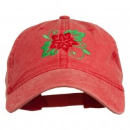 Christmas Poinsettia Flower Embroidered Washed Dyed Cap - Red