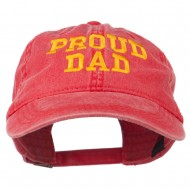 Proud Dad Letters Embroidered Washed Cotton Cap - Red