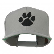 Image of a Paw Embroidered Flat Bill Cap - Silver