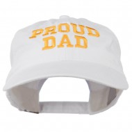 Proud Dad Letters Embroidered Washed Cotton Cap - White