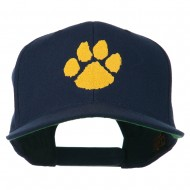 Image of a Paw Embroidered Flat Bill Cap - Navy