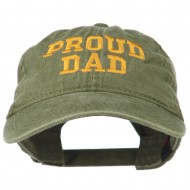 Proud Dad Letters Embroidered Washed Cotton Cap - Olive Green