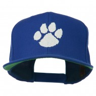 Image of a Paw Embroidered Flat Bill Cap - Royal