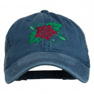 Christmas Poinsettia Flower Embroidered Washed Dyed Cap - Navy
