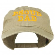 Proud Dad Letters Embroidered Washed Cotton Cap - Khaki