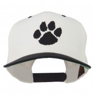 Image of a Paw Embroidered Flat Bill Cap - Natural Black