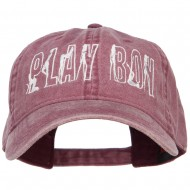 Playboy Embroidered Washed Buckle Cap - Maroon