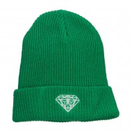 XL Size Diamond Embroidered Eco Cotton Cuffed Beanie - Kelly