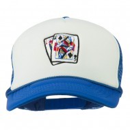 Queen Jack Card Embroidered Foam Mesh Cap - Royal White
