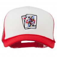 Queen Jack Card Embroidered Foam Mesh Cap - Red White