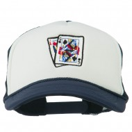 Queen Jack Card Embroidered Foam Mesh Cap - Navy White