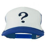 Question Mark Embroidered Foam Mesh Cap - Royal White