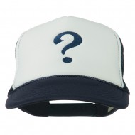 Question Mark Embroidered Foam Mesh Cap - Navy White