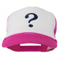 Question Mark Embroidered Foam Mesh Cap - Hot Pink White
