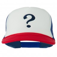 Question Mark Embroidered Foam Mesh Cap - Red White Royal