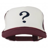 Question Mark Embroidered Foam Mesh Cap - Maroon White