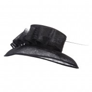 Quil Trimming Fashion Sinamay Hat - Black