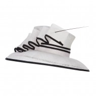 Quil Trimming Fashion Sinamay Hat - White