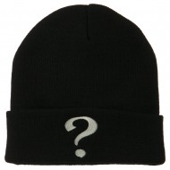 Question Mark Embroidered Long Knit Beanie - Black
