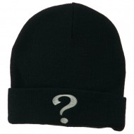 Question Mark Embroidered Long Knit Beanie - Navy