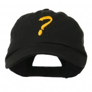 Question Mark Embroidered Cap - Black