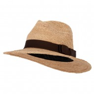 Women's Raffia Braid Double Bow Accented Large Brim Fedora Hat - Natural