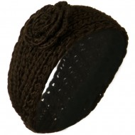 Large Rose Accent Woman's Head Band - Brown