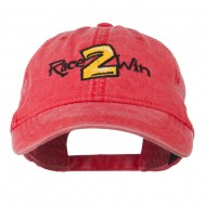 Race 2 Win Embroidered Washed Cap - Red