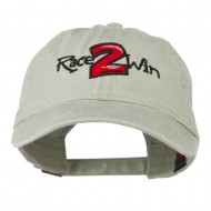Race 2 Win Embroidered Washed Cap - Stone Grey