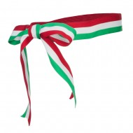Ribbon Bow Hat Band - Green White Red
