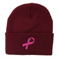 Hot Pink Ribbon Breast Cancer Embroidered Long Cuff Beanie - Maroon
