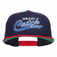 Great Catch Baseball Embroidered Snapback Cap - Navy Red