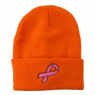 Hot Pink Ribbon Breast Cancer Embroidered Long Cuff Beanie - Orange