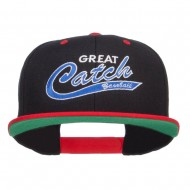 Great Catch Baseball Embroidered Snapback Cap - Black Red
