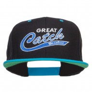 Great Catch Baseball Embroidered Snapback Cap - Black Teal