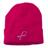 Hot Pink Ribbon Breast Cancer Embroidered Long Cuff Beanie - Hot Pink