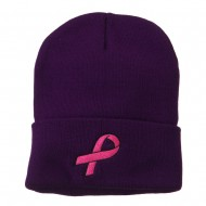 Hot Pink Ribbon Breast Cancer Embroidered Long Cuff Beanie - Purple