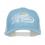 Bride To Be Embroidered Cotton Trucker Cap - Light Blue White