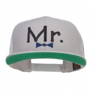 Mr Embroidered Snapback Cap - Silver