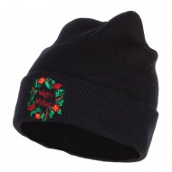 Warm Wishes Embroidered Long Beanie - Navy