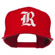Old English R Embroidered Flat Bill Cap - Red
