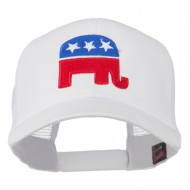 Republican Elephant USA Embroidered Mesh Back Cap - White