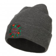 Warm Wishes Embroidered Long Beanie - Dk Grey