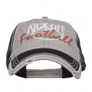 Kick Off Football Embroidered Frayed Bill Cap - Grey Black