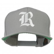 Old English R Embroidered Flat Bill Cap - Silver