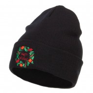 Warm Wishes Embroidered Long Beanie - Black