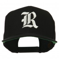 Old English R Embroidered Flat Bill Cap - Black